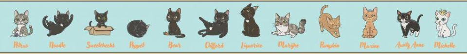 Cartoon mascots of the Pause Cat Cafe rescue cats