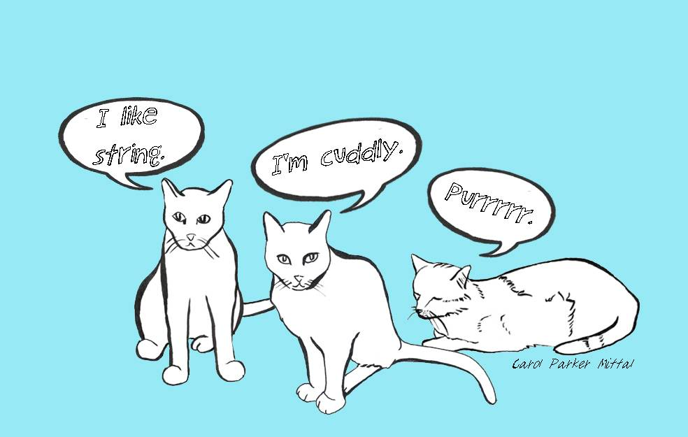 Drawing of talking cats