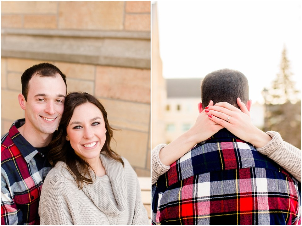 Winter Engagement Pictures | St. Paul, Minnesota | College Sweetheart Session on Campus | Plaid blanket scarf outfit
