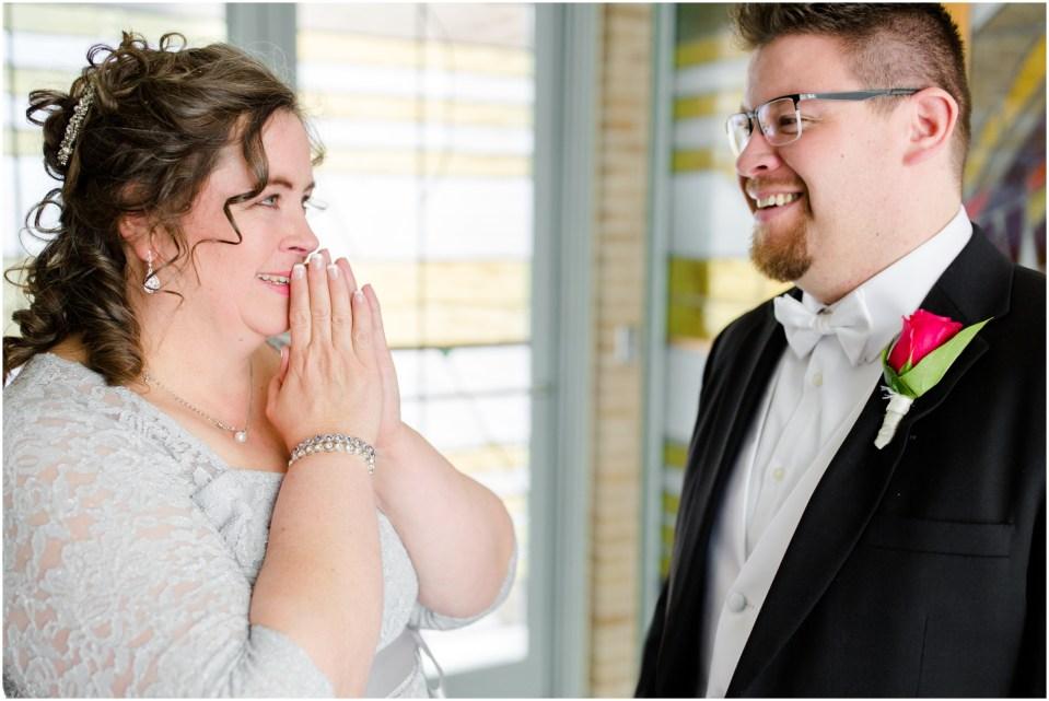 bridal suite,bride,bridesmaids,catholic wedding,getting ready,groom,pink,reading letters,wedding dress,