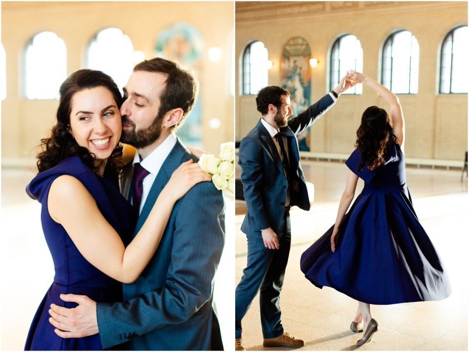 Winter engagement session at Union Depot in Saint Paul, Minnesota