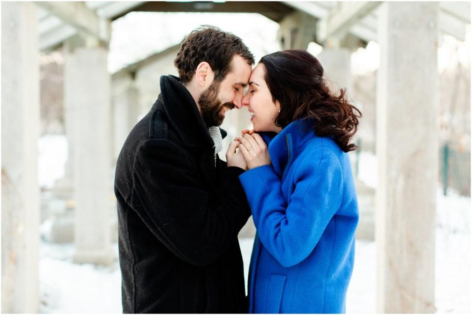 Winter engagement session at Union Depot in Saint Paul, Minnesota