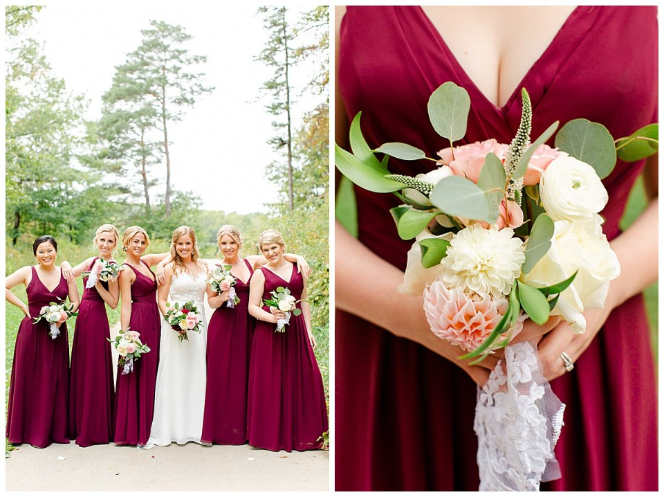 Burgundy themed wedding bridesmaids dresses at Lebanon Hills Park in Eagan, MN with navy themed fall catholic wedding