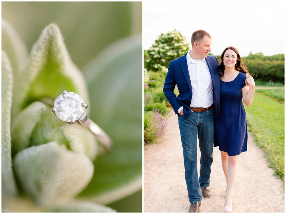 Navy and white summer engagement session at the Lyndale Rose Garden in Minneapolis, MN