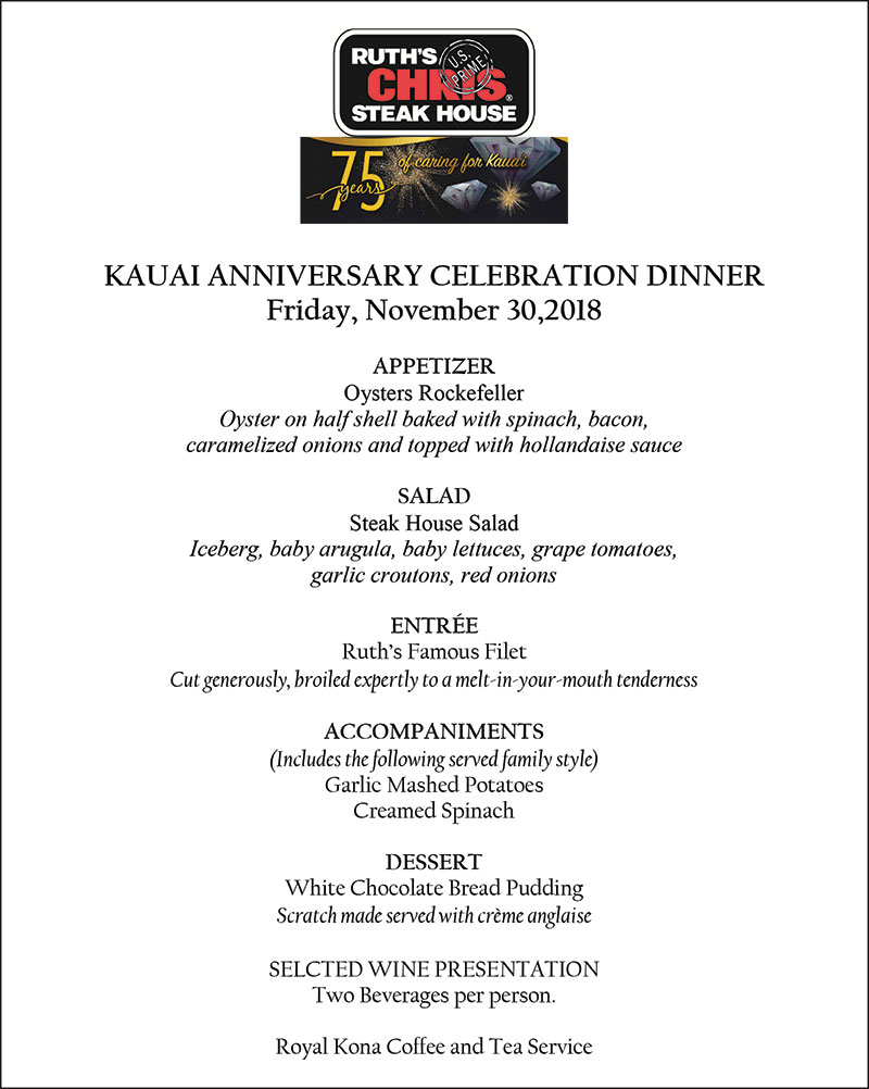 Menu for 75th Anniversary Celebration at Ruth's Chris Steak House