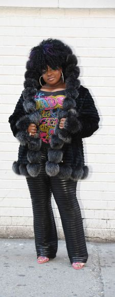 Rasheeda Wallace Fabulous mink Fox jacket