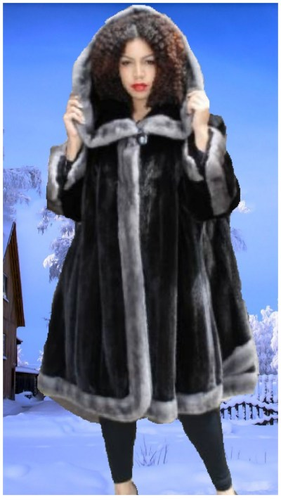 plus size designer ranch mink fur trim