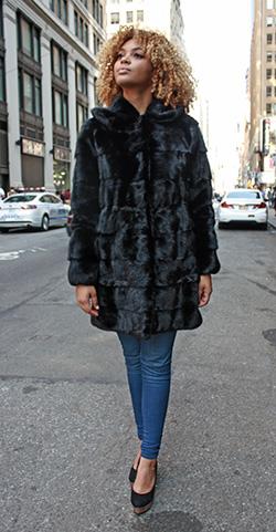 Horizontal Mink Fur Jcket with Hood