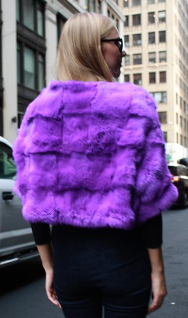 Purple Rabbit Fur Capelet