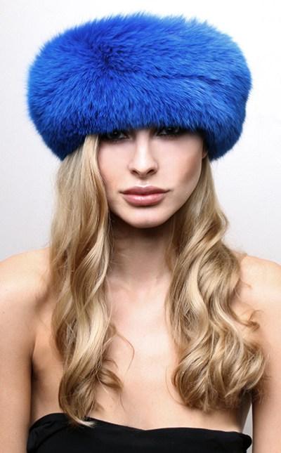 Blue Fox Fur Headband