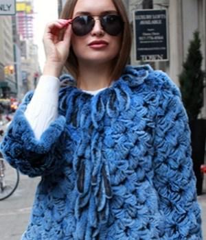 blue knit rabbit cape