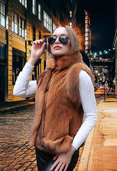 woman mink fur vests