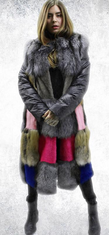Patchwork Mink Fur Fox Fur Coat