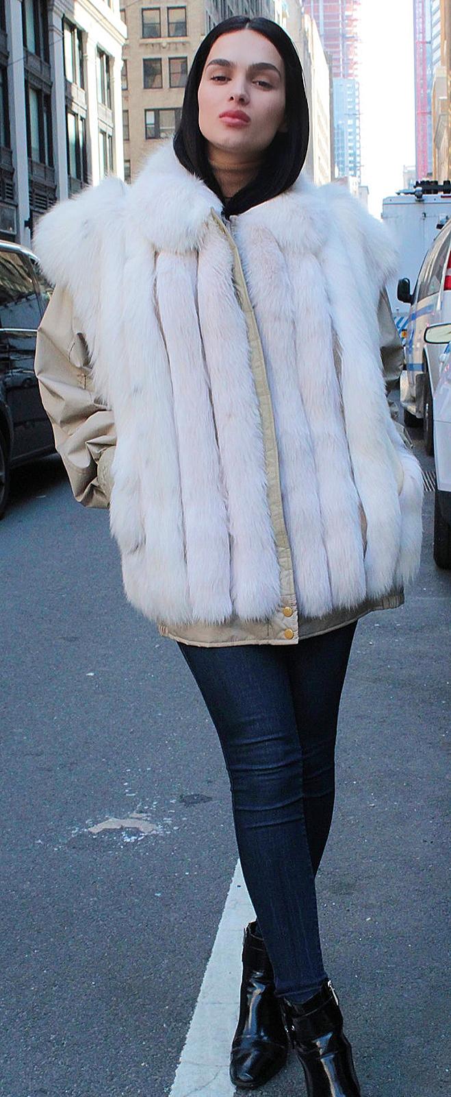 Woman fox fur coats