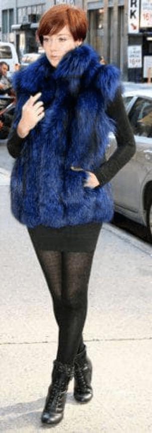 blue dyed silver fox fur vest