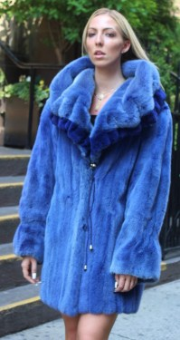 Woman wearing Blue Mink Stroller Sheared Mink Trim Hood