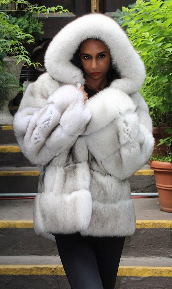 Fluffy Blue Fox Jacket Hood Horizontal