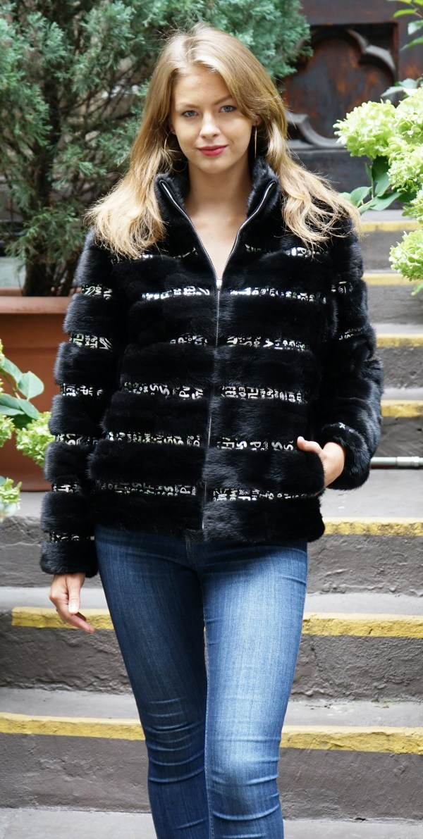 Ranch Mink Bomber Black Silver Leather Inserts