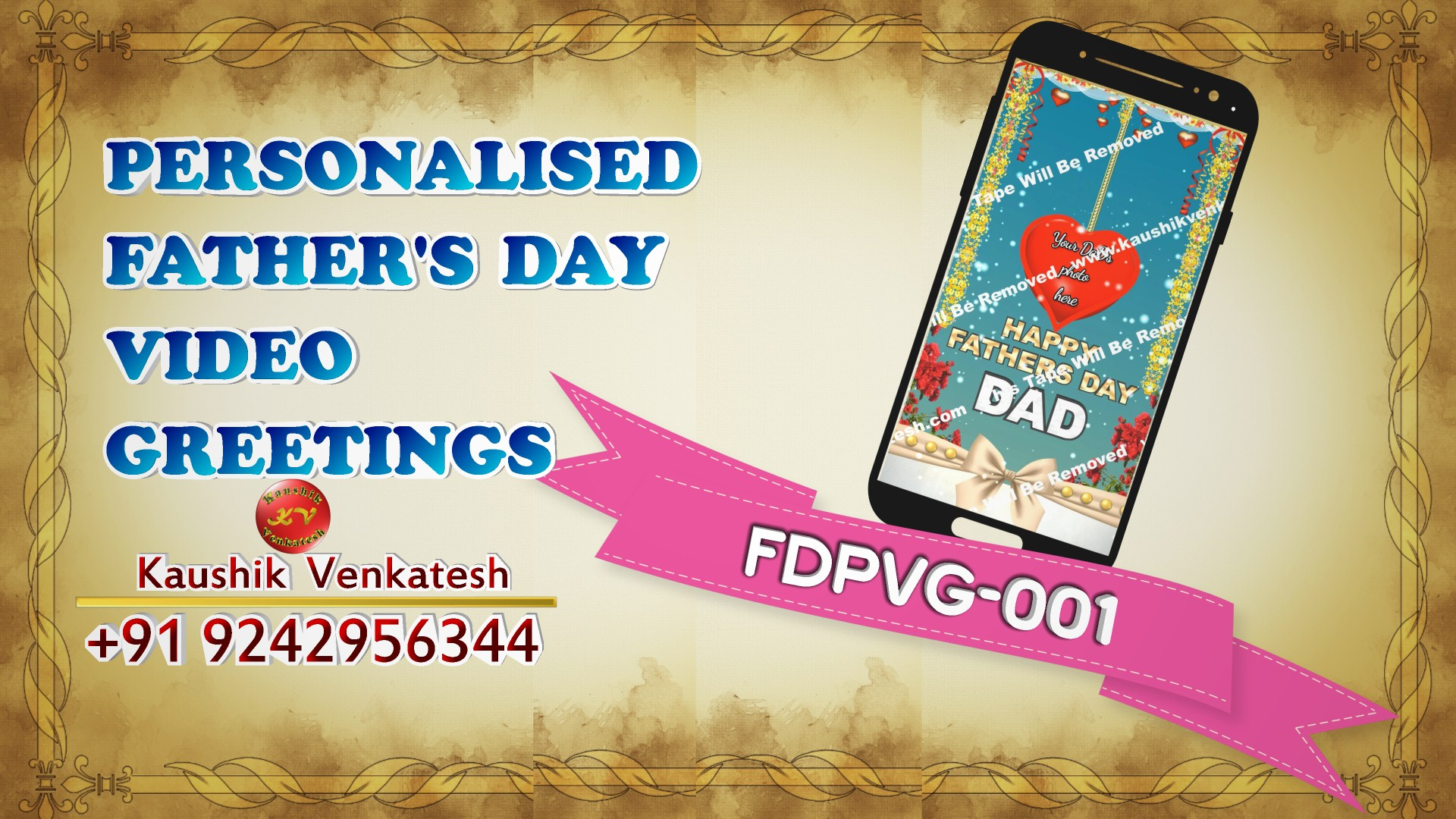 Product Image of Personalized Happy Fathers Day Wishes Video