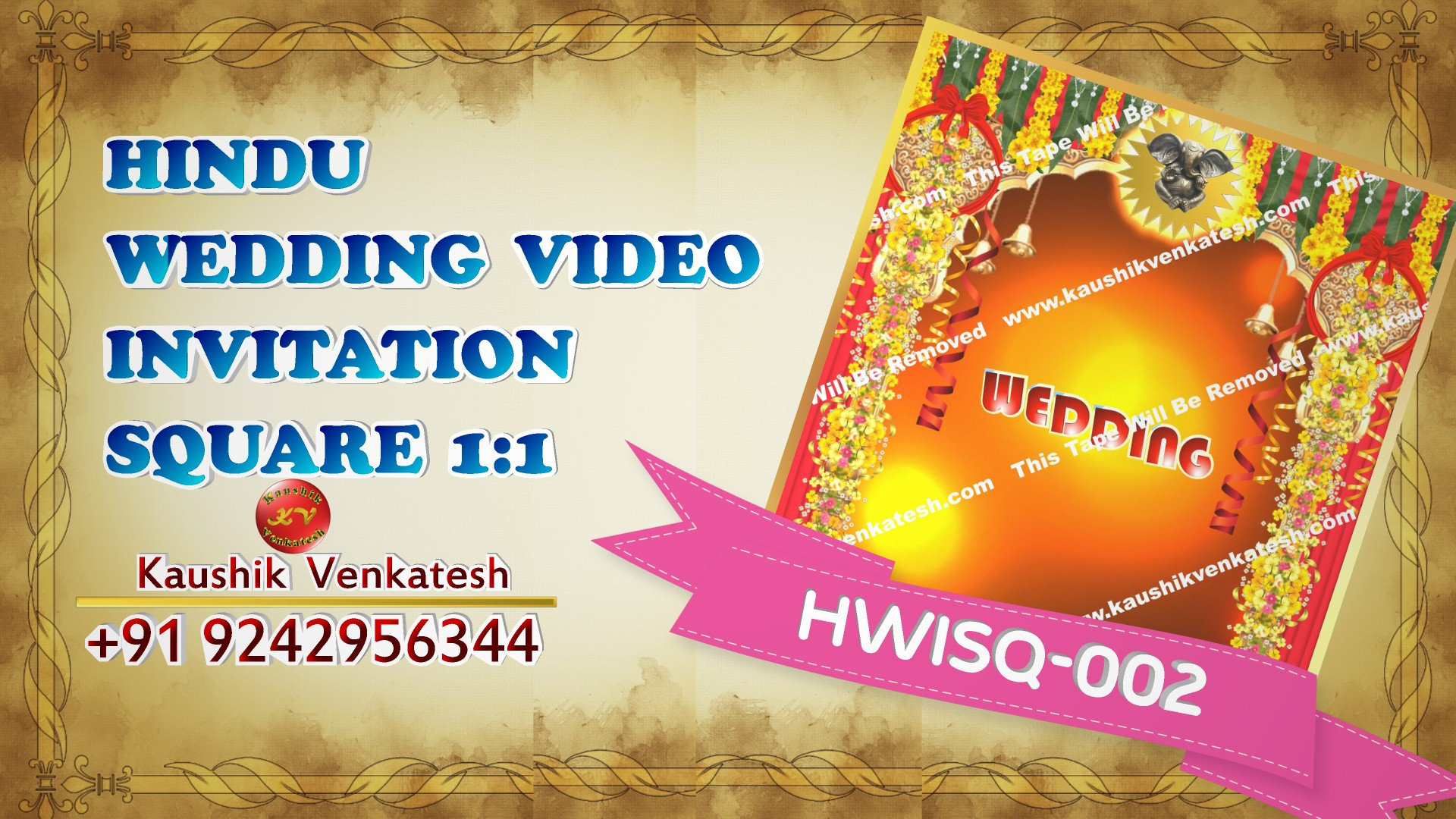 Square Video of Hindu Wedding Invitation for Mobile