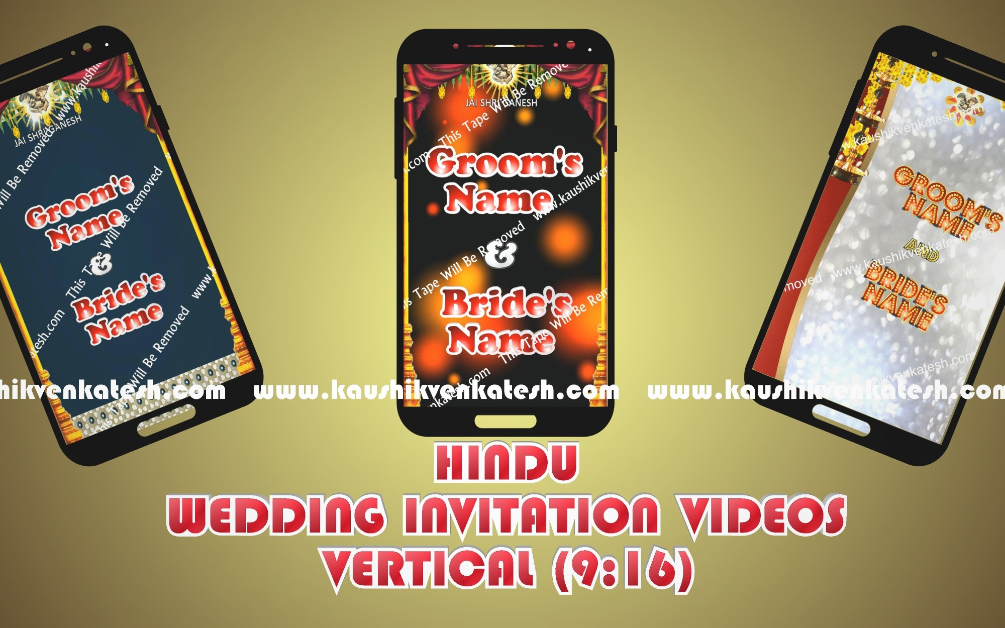 Vertical videos of Hindu Wedding Invitation designed specifically for Mobile.