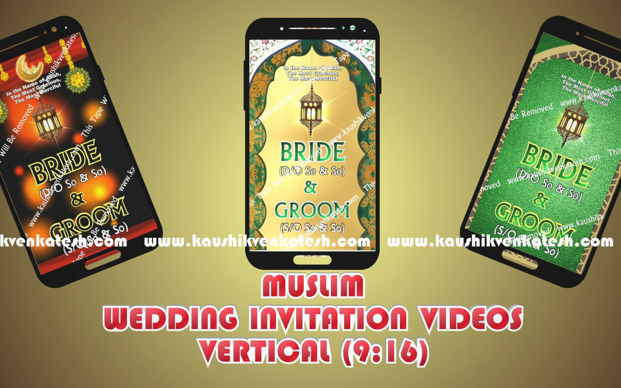 Vertical videos of Muslim Wedding Invitation designed specifically for Mobile.