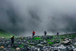Hampta Pass Trek- walking through clouds