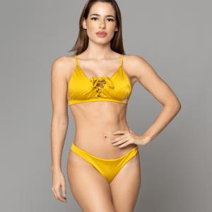Tie Me Up Mustard Gold bikini de dos piezas
