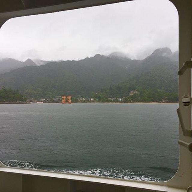 雨の宮島に上陸!靄ってますが鳥居観れた。今日は大聖院内の六角茶房にてウクレレで唄います〜! #唄うたいカワムラ