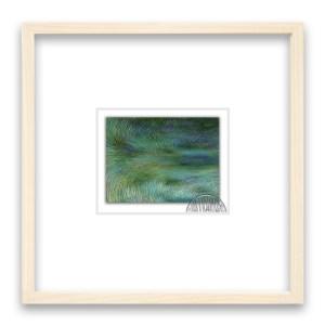 monet green 限定枚数50 画:6x8cm 額:20×20角2cm厚み 白木 日本製 アクリル板面 材質:紙/顔料インク 技法:ジクレー 定価:¥5,000-