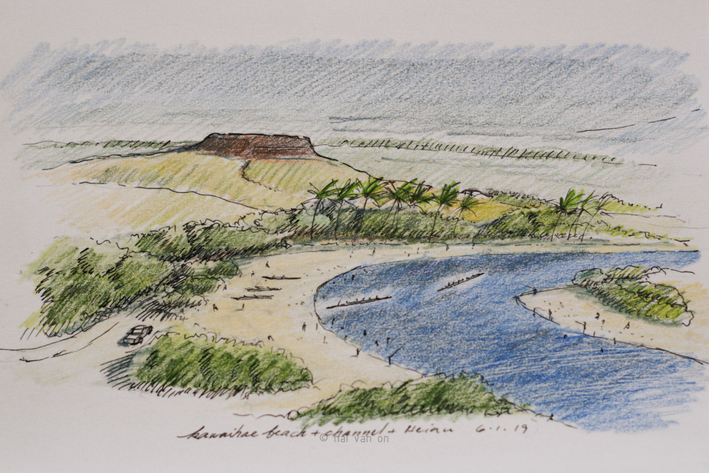 kawaihae beach and channel concept heiau view