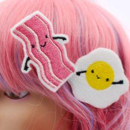 Cute Hair Clips – Kawaii Bacon and Egg Set