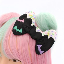 Frosted Decoden Pastel Goth Bat Hair Bow