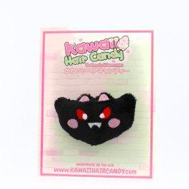 Kawaii Bat Plush Hair Clip – Black