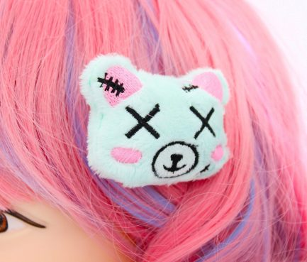 Kawaii Zombie Dead Bear Plush Hair Clip