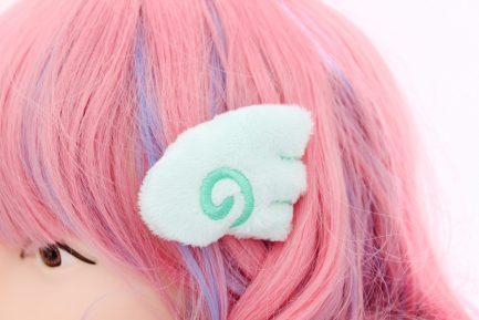Kawaii Angel Wing Plush Hair Clip Set - Mint