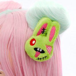 Kawaii Zombie Bunny Plush Hair Clip