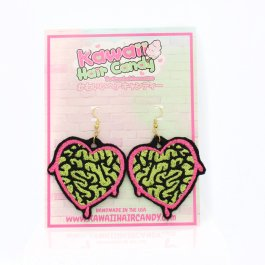 Kawaii Zombie Brains Bleeding Heart Earrings