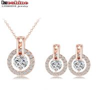 18K Rose Gold Plated Necklace And Earring Sets - Cute ...