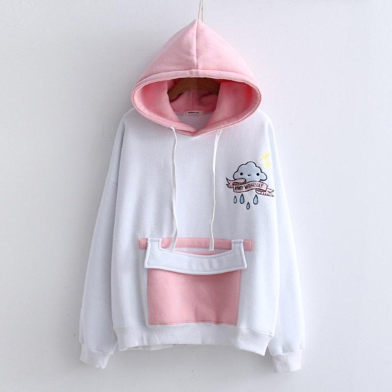 White and pink sweatshirt hood