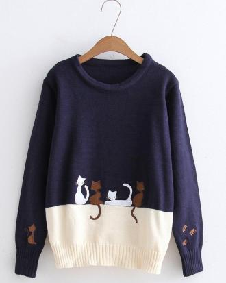 Japanese  four cat  sweater