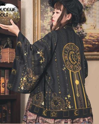 Kimono negro y dorado