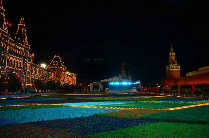 Praça Vermelha à noite em Moscou na Rússia