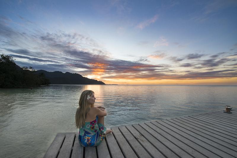 Pôr do sol na Polinésia Francesa
