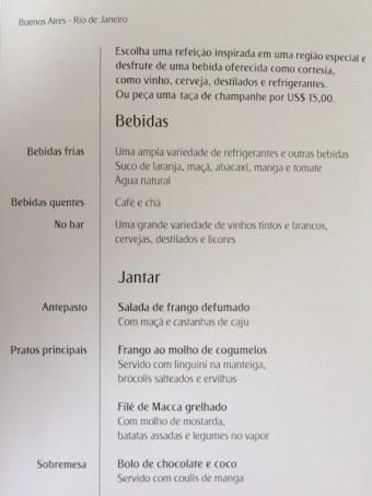 Emirates airline menu classe executiva