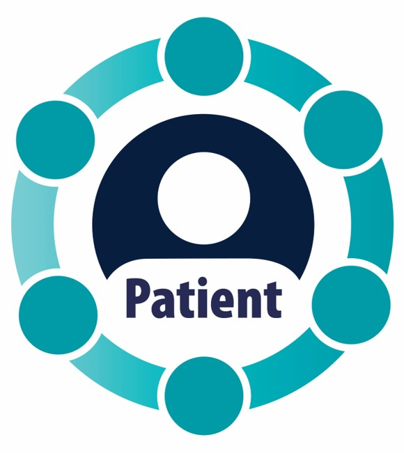 a logo with an icon of a patient inside a cirle