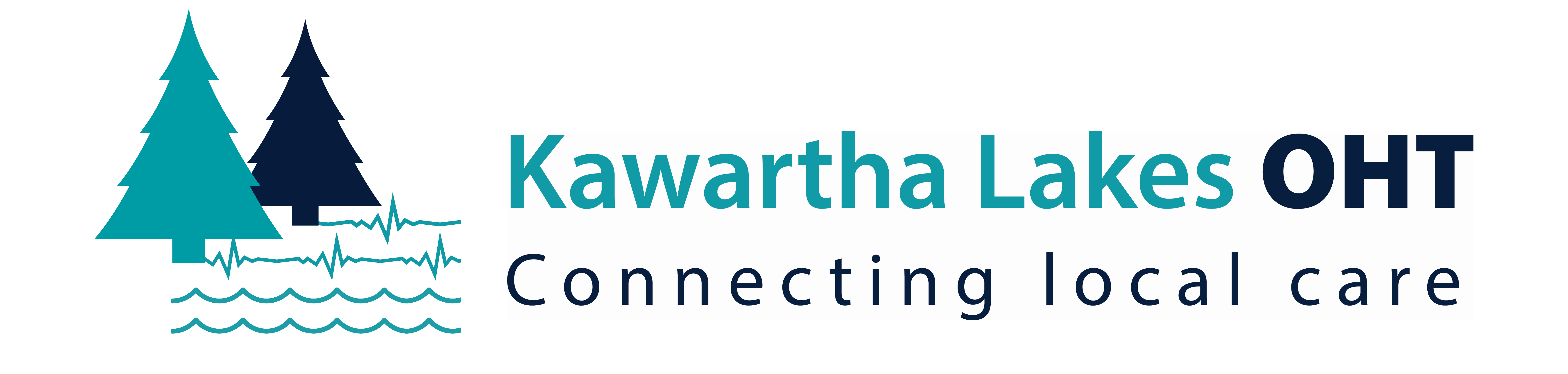 Logo of two trees with heartbeat lines and waves