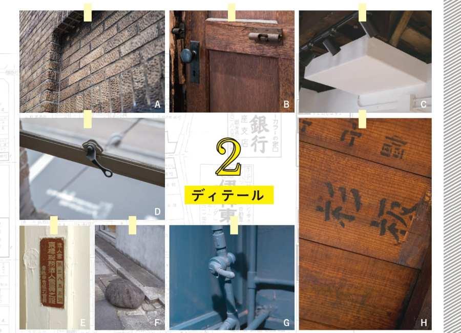 A. スクラッチタイルとは異なる珍しい加飾タイル B.40年間塞がれた壁から小さな扉を発掘し復元。ビンテージ感ある「過去への入口」。 裏面はピンク塗装され、未来への「どこでもドア」となる。 C.取り残されたままの、竣工当初の踊り場 D.竣工当初から残るレトロな鉄製窓枠 E.旧字体で表記される京橋税務法人会員の銘板 F.昔から残る謎の石。MUSEEの守り神  なのかもしれない G.ガス管や電配管、碍子など昔のライフ  ラインの痕跡が残る H.杉天井に確認できる文字。旧書体が往時を忍ばせる 映画のロケーション 1960年公開の東宝映画「秋立ちぬ」(成瀬巳喜男監督)にて、ロケ地として 登場。信号のない昭和通りを無謀にも渡る4人の少年が描かれる。紅葉や のれんに「酒肆小鼓」の面影が。希少なモノクロの時代を克明に伝える。映 画は、少年少女の健気な姿を繊細に描いたもので、成瀬ファンからも総じ て人気のある晩年の快作。併映は「悪い奴ほどよく眠る」(黒澤明監督)。幻!?の超高層タワー計画 世界中の建築を見て歩くほどフ リークのMUSEE代表。憧れの建築 家 藤本壮介氏に、超高層タワー計 画を設計依頼。HouseN(大分市) を施工した縁からお願いした。14階 建てのオフィス兼住居(SOHO)。緑 の植栽溢れる階段が巻きつくイン パクトある外観。第二の中銀カプセ ルタワービル候補?と呼ばれそうな 建築誕生に向け画策。しかし収支 が合わず、ひとまずお蔵入りに。解 体工事の一週間前に保存を決断 し中止させたという。数奇な運命を 辿り、危機一髪、救われたのが MUSEEである。