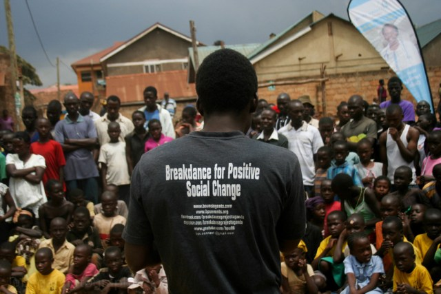 With Breakdance Project Uganda (BPU) at Namuwongo slums in Kampala, Uganda duing HIV/AIDS awareness day 2014.