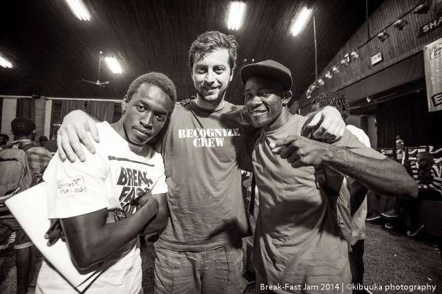 With Bboy Bursa(Serbia/Sweden) and Abramz after judging 2014 Break-Fast Jam Central Uganda Eliminations.